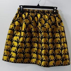 Crewcuts Black/Gold Elephant Print A-line Skirt 12